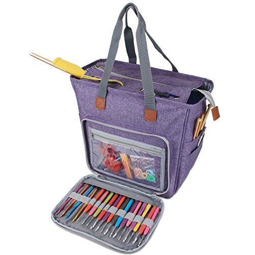 Luxja Knitting Tote Bag, Yarn Storage Bag for Carrying Projects, Knitting Needles, Crochet Hooks and Other Accessories, Purple by LUXJA