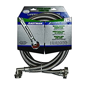 Eastman 41065 Ss Washing Machine Hose with 90-Degree Elbow, 3/4-Inch X 3/4-Inch, 1-Pair