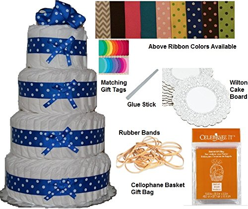 """Diaper Cake Kit, Baby Shower Centerpiece Kit, New Baby Gift Kit, Hospital Gift Kit with High Quality Grosgrain Ribbon 1.5"""" - Blue and White Polka Dots (4 Tier)"""