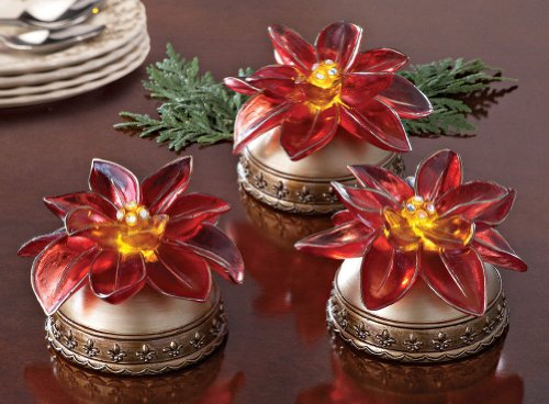 - Set of 3 LED Poinsettia Lights Christmas Holiday & Seasonal Décor