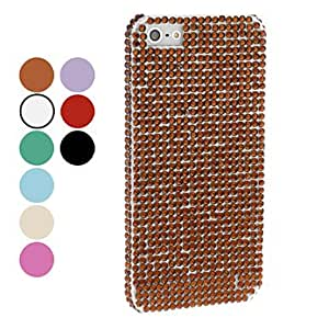Mini - Solid Color Rhinestone Hard Case for iPhone 5/5S - Color , Green