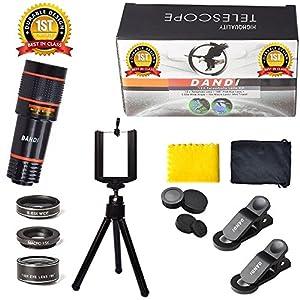 Universal 6 in 1 Clip On Camera Lens Kit | Cell Phone Bundle iPhone, Samsung, Most Smartphones | 12x Telescope Zoom + Fisheye + Wide Angle + Macro + Tripod + Microfiber Cloth + Phone Holder by DANDI