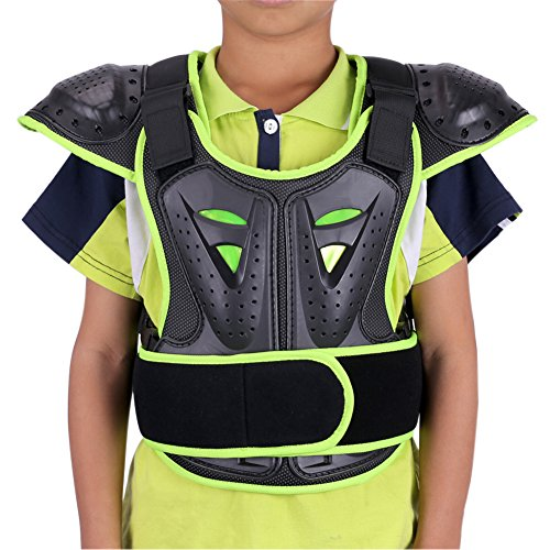 WINGOFFLY Kids Chest Spine Protector Body Armor Vest Protective Gear for Dirt Bike Motocross Snowboarding Skiing, Green M