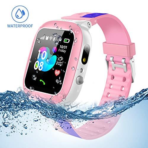 Jslai Niños Smartwatch Imprägniern,Inteligente Relojes Telefono, LBS Tracker de Alarma SOS Infantil Relojes de Pulsera Cámara Reloj móvil Mejor Regalo para Niño niña de 3-12 años (Pink-Blue) product image