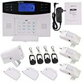 GULUBO Wireless Home Office Business Security Alarm System, GSM SIM Card Burglar Alarm Outdoor Siren, with Auto Dial, Infrared Detector, Remote Control and More Kits for Complete Security