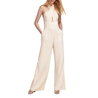 218716a2903a3 Amazon.com: Ingsist Women White Cross Strap Backless Jumpsuit: Clothing