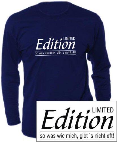 Langarm T-Shirt mit Druck LIMITED EDITION (Farbe navyblau) (Größe S)