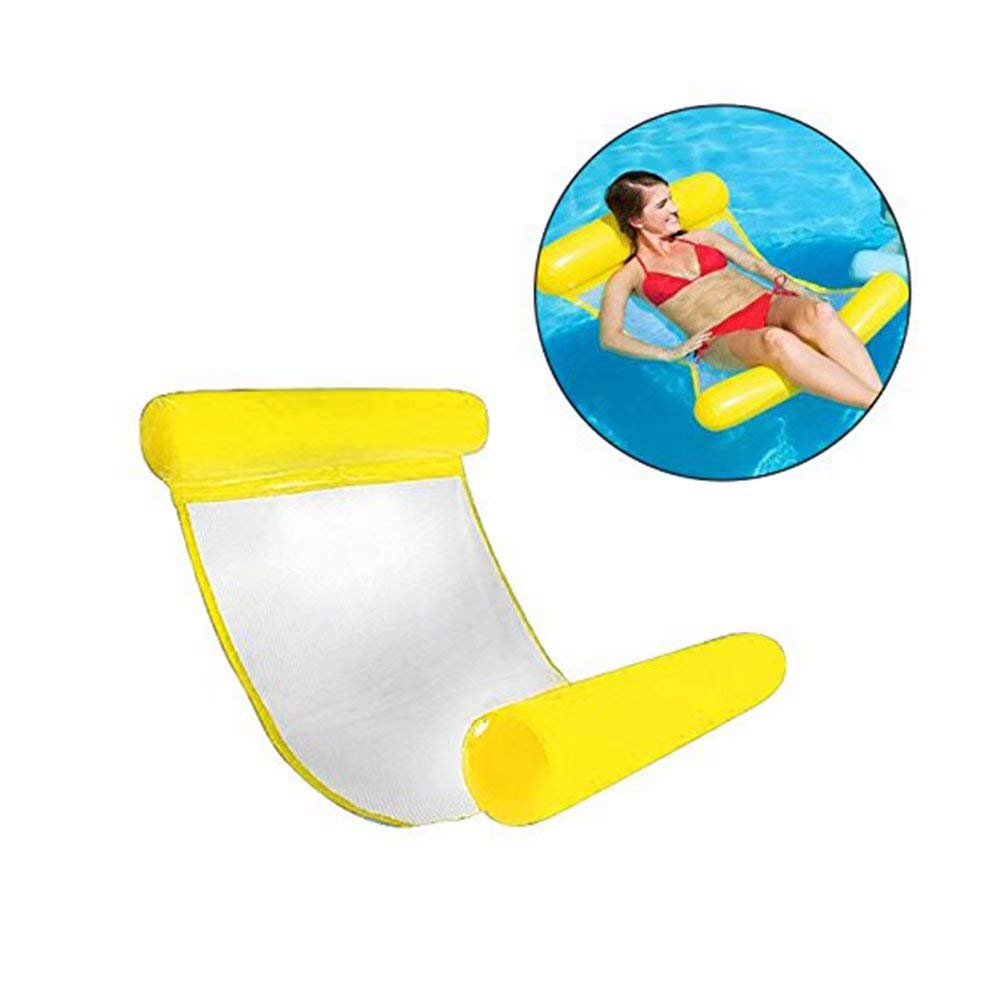 Yellow 130cmx73cm Swimming Pool Float Summer Outdoor Swimming Adult Comfortable Water Floating Bed & Inflatable Swimming Pool Lounger(bluee)