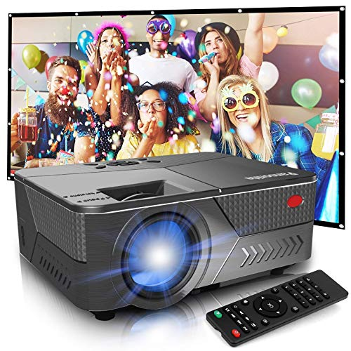 Pansonite Projector with 120 inch Projector Screen,5200 Lumens Projector for Outdoor Movies Support 1080P and 16:9 Foldable Wrinkless Projection Screen