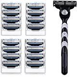 Men's 3 Razor Blades Refills Cartridge Pack with Shaving Razor Handle - Mens Manual Shaver Safety-1 Shaving Razor Handle and 16 Replacement Cartridges