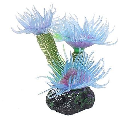 eDealMax Planta Coral peces de acuario tanque Artificial Waterscape Simulación decoración Azul claro