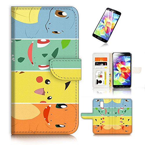 Samsung Galaxy S5 Flip Wallet Case Cover & Screen Protector Bundle! A20009 Pokemon Pikachu Photo - Pokemon Gaming
