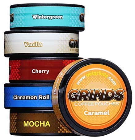 Grinds Coffee Pouches - New 6 Can Variety Pack (with Wintergreen & Cherry) - Tobacco Free, Nicotine Free Healthy Alternative (Best Smokeless Tobacco Substitute)