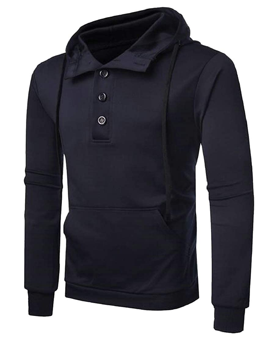 Etecredpow Men Classic Drawstring Pocket Buttons Pullover Hooded Sweatshirts