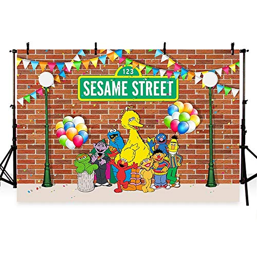 Sesame Street Birthday Party Backdrops for Photography 7x5 Colorful Banner Big Elmo Background with Birthday Balloons Backdrop for Kids -