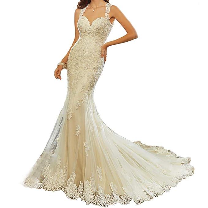 Amazon.com: Ryanth - Vestido de novia sexy sin espalda para ...