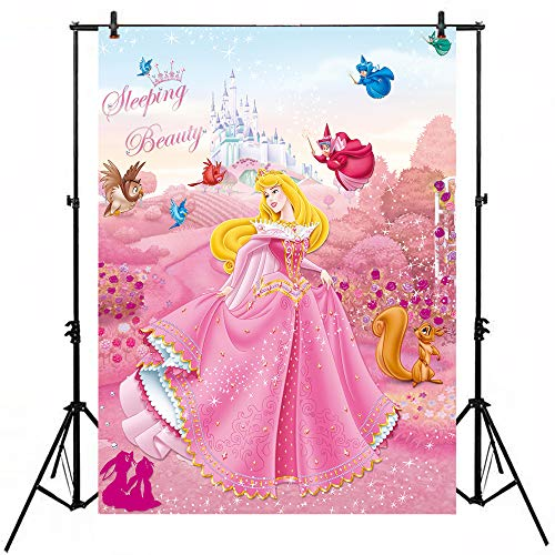 Pink Flower Garden Background Backdrop 5x7ft Sleeping Beauty Princess Aurora Photo Backgrounds Girl Birthday Banner Amimed Animal Backgrounds for Party ()