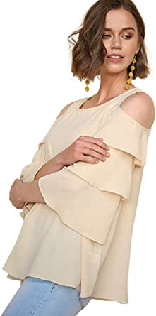 Umgee Women's Tiered Ruffle Sleeve Open Shoulder Blouse Tunic Top