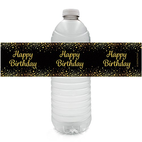 Happy Birthday Party Water Bottle Sticker Labels - Gold and Black (Set of 24)