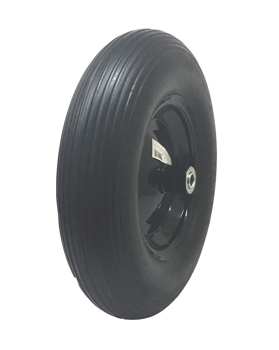 UI PRO TOOLS Black 16'' Flat Free Tires Wheels with 5/8'' Center - Solid Tire Wheel for Garden Dolly Hand Truck Cart/All Purpose Utility Tire on Wheel by UI PRO TOOLS