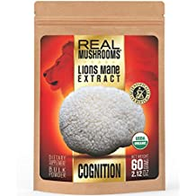 Lions Mane Mushroom Extract Powder by Real Mushrooms - Certified Organic - 60g Bulk Lion's Mane Mushroom Powder - Perfect for Shakes, Smoothies, Coffee and Tea