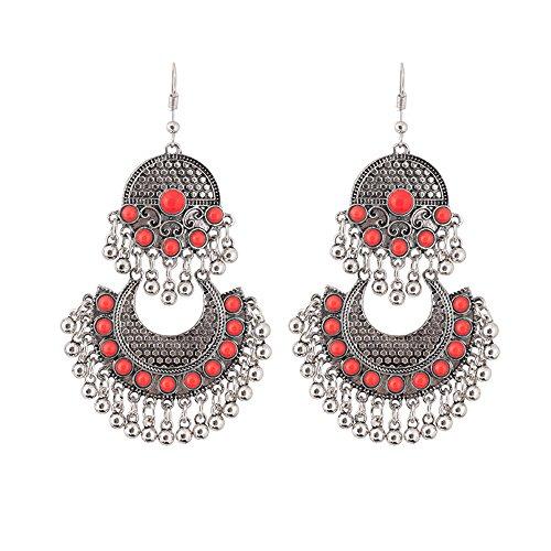Women Retro Earring Ethnic Style Carved Oil Flowers Geometric Bells Tassel Dangle Jewelry (B)