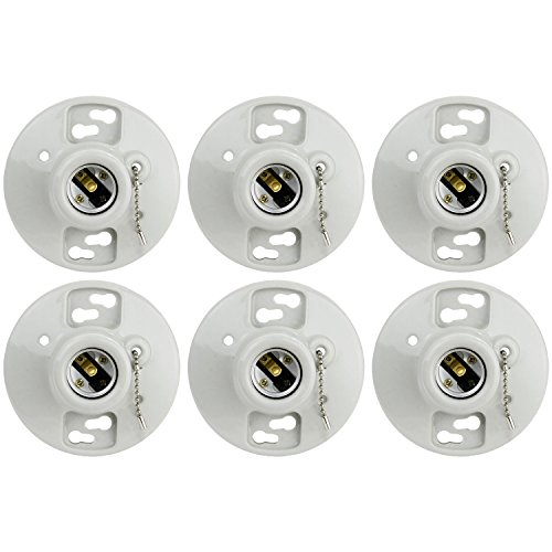Sunlite E198/CD/6PK Porcelain Lamp Holder Outlet Box Mount with Pull Chain by SUNQN