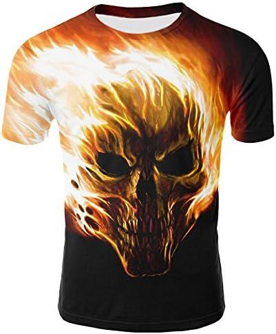 [해외]완벽한 크루넥 티셔츠 남성용 해골 3D 프린팅 티셔츠 반소매 티셔츠 캐주얼 상의 / 완벽한 크루넥 티셔츠 남성용 해골 3D 프린팅 티셔츠 반소매 티셔츠 캐주얼 상의