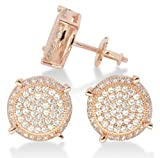 10mm Round Gold or Silver Tone Iced Out Cz HipHop Bling Screw Back Stud Earrings (Rose Gold)
