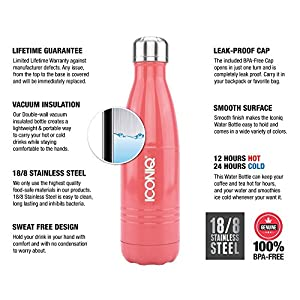 ICONIQ Stainless Steel Vacuum Insulated Water Bottle, 17 Ounce (Rose Coral)