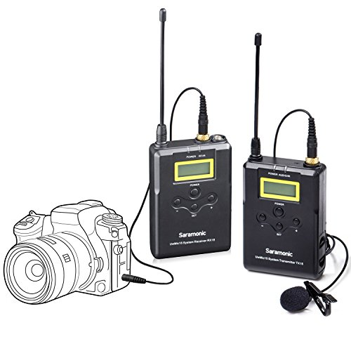 Saramonic UWMIC15 16-Channel Digital UHF Wireless Lavalier Microphone System with Bodypack Transmitter, Portable Receiver, Lav Mic, Shoe Mount, XLR/3.5mm Outputs for Video for Nikon,Canon DSLR Camera ()