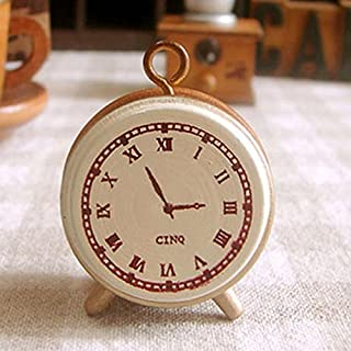Ioffersuper Wooden Rubber Stamp Seal Classic Alarm Clock for Diary Scrapbook Decor
