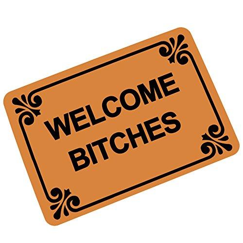 Welcome Bitches - Funny Doormat Entrance Mat Floor Mat Rug Indoor/Outdoor/Front Door/Bathroom Mats Rubber Non Slip (23.6 L x 15.7 W)