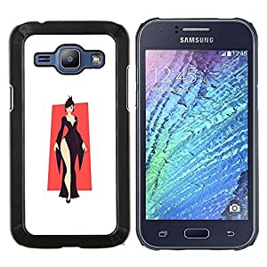 LECELL--Funda protectora / Cubierta / Piel For Samsung Galaxy J1 J100 -- Elegante Negro --