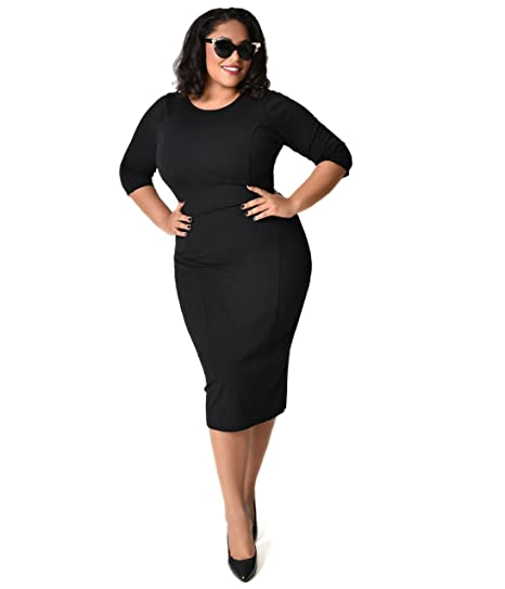 8aeb28e3b7 Image Unavailable. Image not available for. Color  Unique Vintage Plus Size  1960s Style Black Long Sleeve Mod Wiggle Dress