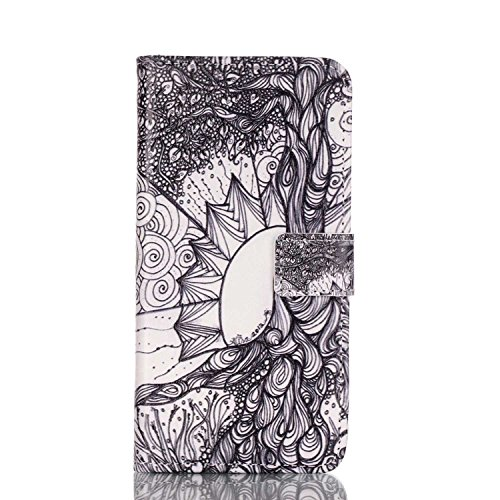 Funda para Galaxy S7 Edge, Galaxy S7 Edge Funda de PU cuero resistente, Galaxy S7 Edge Ultra Slim PU Cuero Folding Stand Flip Funda Carcasa Caso,Galaxy S7 Edge Leather Case Wallet Protector Card Holde black Flower