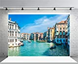 italian backdrop - AOFOTO 7x5ft Beautiful Venice Photography Background Italy Water City Streetscape Backdrop Canal Gondolas Sailing European Trip Lovers Adult Portrait Photoshoot Studio Props Video Drape Wallpaper
