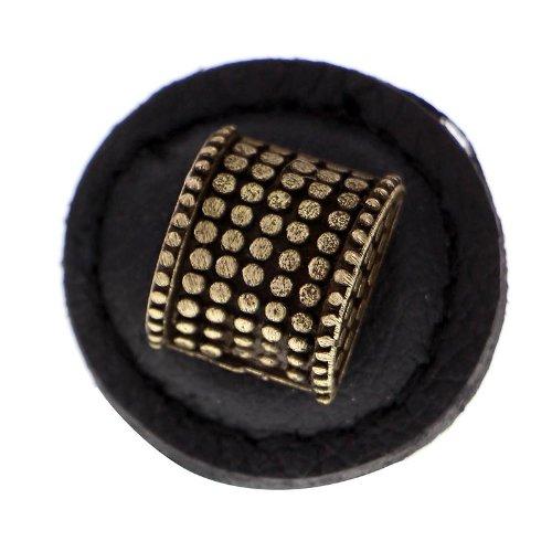 Antique Brass Black Large Vicenza Designs K1277 Tiziano Half-Cylindrical Round Leather Knob