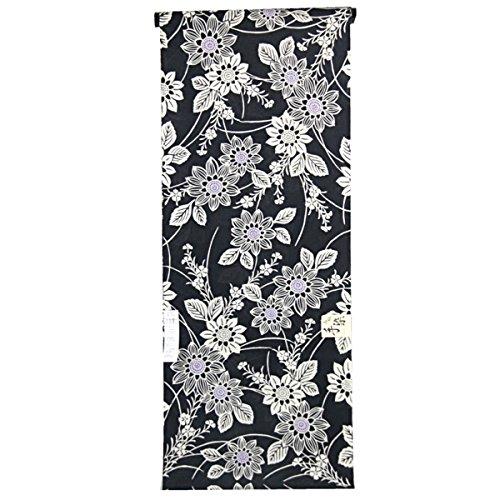囲い図書館気候浴衣反物 レディース -99- 綿100% 注染 黒 花柄 日本製