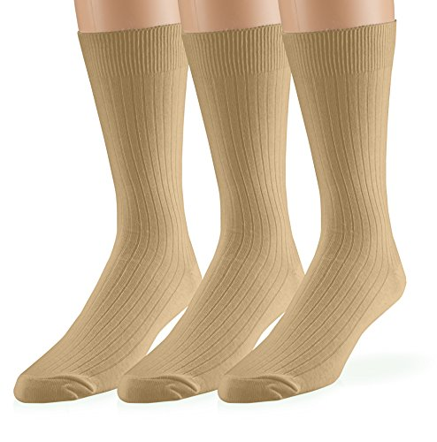 EMEM Apparel Men's Casual Soft Ribbed Cotton Knit Classic Mid Calf Crew Dress Hosiery Socks 3-Pack Khaki 10-13