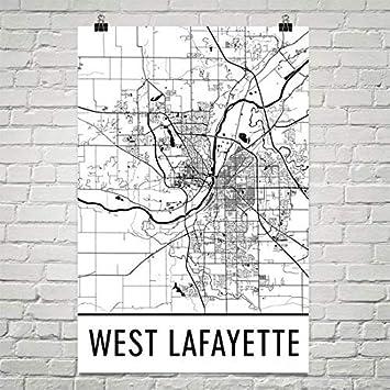 Modern Map Art West Lafayette Lafayette del oeste cartel ...