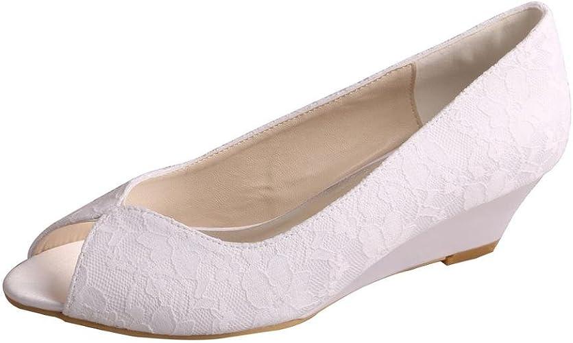 Wedopus MW407 Women's Lace Peep Toe