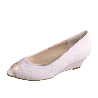 Wedopus MW407 Womenu0027s Lace Peep Toe Prom Low Wedge Heel Bridal Wedding Shoes  Size 1 White