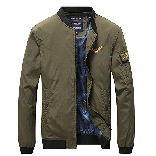 Green jacket youth casual Men's into jacket an pocket embroidered Army qHzn5RSn1w