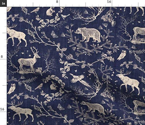 Toile Fabric - Deer Stag Rabbit Owl Toile Christmas Navy Moose Night Time Midnight Blue Log Print on Fabric by The Yard - Sport Lycra for Swimwear Performance Leggings Apparel Fashion