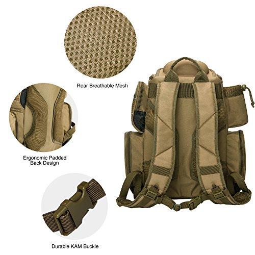 Piscifun Fishing Tackle Backpack Large Capacity Waterproof Fishing Tackle Bag with 4 Tray Tackle Box and Protective Rain Cover Khaki