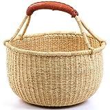 "Fair Trade Ghana Bolga African Dye- Free Medium Market Basket 11-13"" Across, #22197"