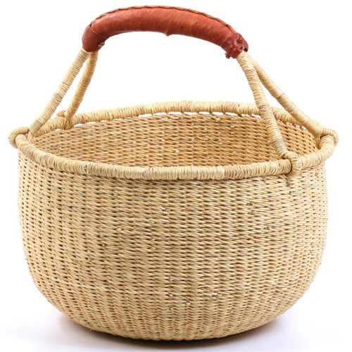Fair Trade Ghana Bolga African Dye-Free Fully Shaped Medium Market Basket 11-13