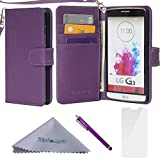 G3 Case, Wisdompro Premium PU Leather 2-in-1 [Folio Flip Wallet] Protective Case Cover Built-in Credit Card Holder/Slots and with Wrist Lanyard for LG G3 (Not fit LG G3 Vigor) - Purple