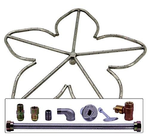 Spotix HPC Match Lit Fire Pit Burner Kit, Penta, 24-Inch Burner, Natural Gas, Polished Chrome by Spotix